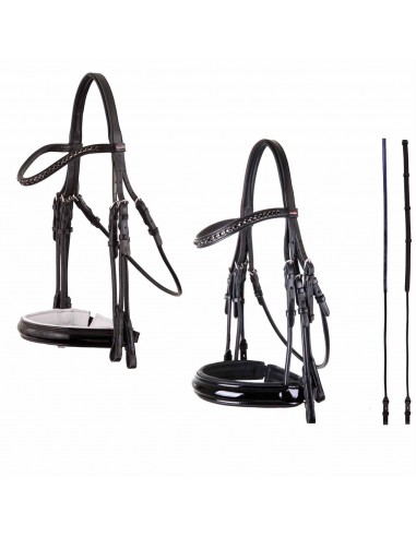 DOUBLE BRIDLE PREMIERE TUBULAR WITH PATENT LEATHER