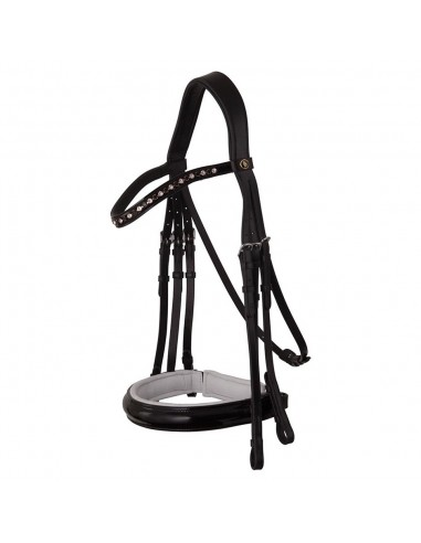 DOUBLE BRIDLE BR WENDOVER PATENT LEATHER BLACK WITH WHITE