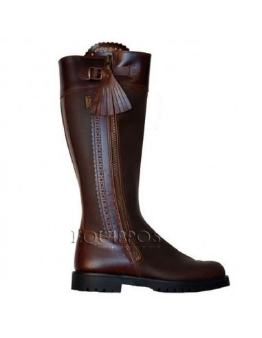 Leather Riding Boots with Zipper