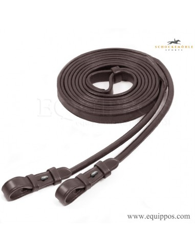 SCHOCKEMOHLE ROLLED DOUBLE BRIDLE REINS WITH HOOK STUD